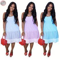0061623 2020 Newest summer fashion sleeveless spliece ladies Elegan sexy dresses Women Girls' Casual Dress For Woman