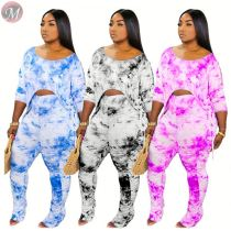 0061622 New stylish 2020 fashion tie-dye Top And flared Pants Sexy 2 Pcs Track Suit Outfits Women Two Piece stacked pants Set