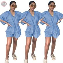 0060604 Casual fashion summer sexy v neck ruffles drawstring women denim one piece jumpsuits and rompers
