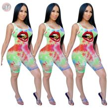 0060826 Fashion casual summer sexy bodycon Burn Out print  Ladies Jump Suit Women One Piece Jumpsuits And Rompers