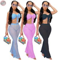 0061629 2020 Summer Fashion sexy mesh perspective Top And flared Pants Sexy 2 Pcs Outfits Two Piece Set Women Clothing