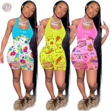0060825 Wholesale price 2020 summer sexy bodycon halter cartoon print Burn Out Women One Piece Short Jumpsuits And Rompers