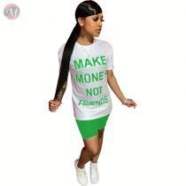 0060618 Best price 2020 Summer casual letter print round neck Sexy 2 Pcs Track Suit Outfits Two Piece Shorts Set Women Clothing