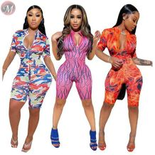 0061621 Wholesale fashion summer sexy mesh print Sexy Bodycon sports Jump Suit Women One Piece Jumpsuits And Rompers