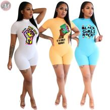 0061626 2020 Wholesale Custom Fitness Jump Suit zipper print Sexy Bodycon Women One Piece short Jumpsuits And Rompers