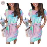 0060619 Cheap apparel short sleeve tie-dye Women Girls' Sexy Clothes Bandage Lady Elegant Summer Casual Dress