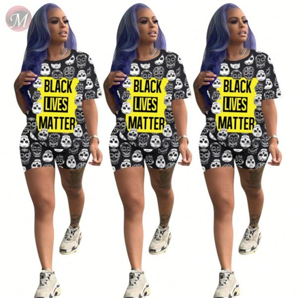 0060605 New stylish casual sports suit print 2 Pcs Track Suit Outfits Two Piece Shorts Set Women Clothing For Women Two Piece