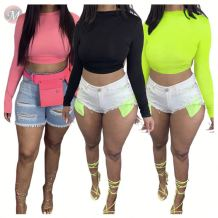 0060806 Hot selling 2020 Summer solid color long sleeve backless Ladies Fashionable Sexy Casual Women Tops  For Woman