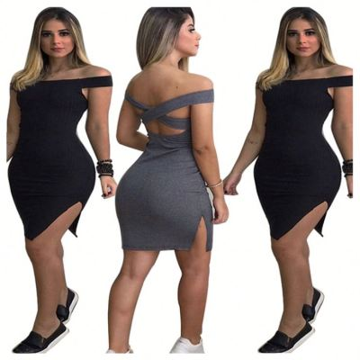 0061828 Wholesale price fashion sexy bodycon backless slit off the shoulder solid color Women Girls' Elegant Summer Casual Dress