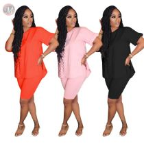 0060812 Fashion new solid color slit round neck 2020 Summer Sexy 2 Pcs Track Suit Outfits Two Piece Set Women Clothing For Women