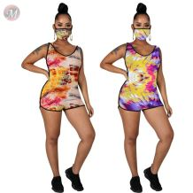 0060822 Fashion Summer 2020 sexy print Ladies hooded Jump Suit Basic Bodysuits Women One Piece Short Jumpsuits And Rompers