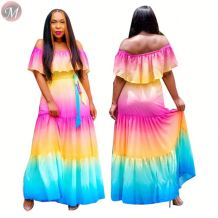 0061630 Best seller 2020 summer fashion sexy ruffles off the shoulder Color gradient holiday style Women Girls' maxi long dress