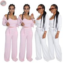 0061608 Fashion casual 2020 Summer solid color Top And Pants Sexy 3 Pcs Track Suit Outfits three Piece Set Women Clothing