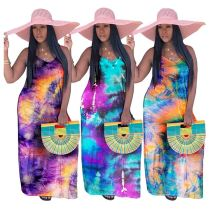 0061829 Design fashion 2020 summer tie-dye print loose Holiday style Lady Sexy Clothes Women Girls' Casual Maxi Long Dress