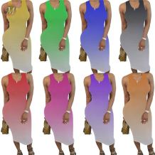 0060614 Hot casual fashion sleeveless draped gradient Women Girls' Sexy Clothes Lady Elegant Summer tank Dress