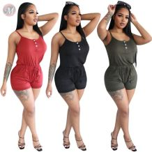 0060827 Hot onsale fashion summer solid color button Ladies sling jumpsuit Women One Piece Jumpsuits And Rompers