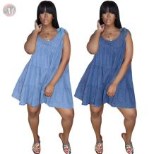 0060811 Wholesale new sleeveless ruffles bandage denim dress Women Girls' Sexy ClothesLady Elegant Summer Casual Dress