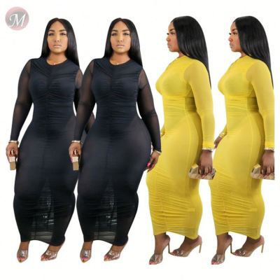 0060813 New design fashion solid color mesh Sexy bodycon Lady Elegant Clothes Summer Women Girls' Casual Maxi Long Dress