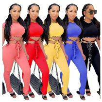 0061802 Fashion 2020 Summer solid color ruffles rib crop Top And Pants Sexy 2 Pcs TrackSuit Outfits Two Piece Set Women Clothing