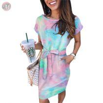 0060619 Cheap apparel short sleeve tie-dye Women Girls' Sexy Clothes Bandage Lady Elegant Summer Casual Dress