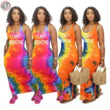 0061609 Latest design 2020 fashion sleeveless letter print tie-dye women tank dress Lady Elegant Summer Casual long Dress