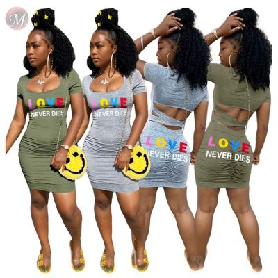 0060807 New casual fashion hollow out draped colorful letter print Women Girls' Sexy ClothesLady Elegant Summer Casual Dress