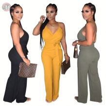 0060820 Best design summer solid color v neck Sling jumpsuit included belt Women One Piece Jumpsuits And Rompers