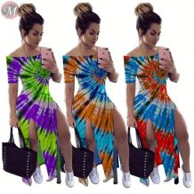 0061602 Hot onsale 2020 off the shoulder tie-dye slit Lady Elegant Sexy Clothes Summer Women Girls' Casual Maxi Long Dress