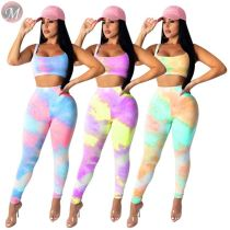 0061618 Hot selling 2020 Summer tie-dye casual sexy crop Top And Pants  2 Pcs Track Suit Outfits Two Piece Set Women Clothing