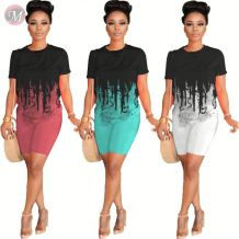 0060613 Stylish Summer gradient tie-dye short sleeve sports suit Sexy 2 Pcs Track Suit Outfits Two Piece Set Women Clothing