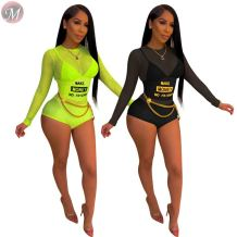 0061627 Fashion sexy 2020 summer night club mesh perspective Bodysuits Women One Piece Short Jumpsuits And Rompers