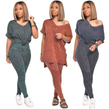 0062408 Hot Sale Women Fashion Solid Color V Neck Tshirt Long Pant Clothing Casual Two Piece Set Outfits