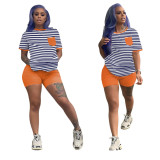 0060320 Lowest Price Fashional Simple Style Striped Pockets 2 Piece Set Women Summer 2020 Trendy Sportswear Two Piece Short Set