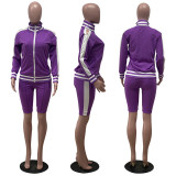 0060323 Wholesale New Side Stripe Long Sleeve Two Piece Set Summer Lady Tracksuit Sports Knee Length Women 2 Piece Set Clothing