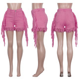 0060111 Wholesale Solid Colored Washed Ladies Multi-Color Summer Trendy Tassel All-Match Women Denim Jeans Shorts