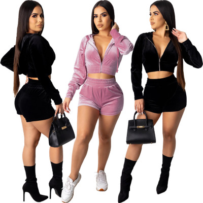 9122006 newest design solid color Tracksuit Casual velvet hooded zipper crop top and shorts Two Piece Set Women Clothing