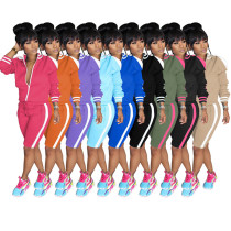 0060323 Wholesale New Side Stripe Long Sleeve Two Piece Set Summer Lady Tracksuit Sports Knee Length Women 2 Piece Set Clothing