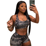 0062231 Hot onsale 2020 Summer digital printing Sexy sweat suit 2 Pcs Track Suit Outfits Two Piece Shorts Set Women Clothing