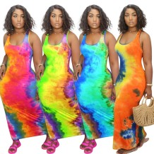 0060119 Newest Design Hot Sale Colorful Printed Sleeveless Long Dresses Women Summer Fashion Straight Casual Maxi Dress