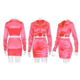 9121224 Latest design Satin Fabric Long Sleeve Women new fashion crop top Mini Skirt Solid Color Casual two pieces skirt set