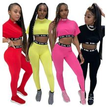0070307 Fashion casual summer solid color tight crop Top And Pants Sexy 2 Pcs Track Suit Outfits Two Piece Set Women Clothing
