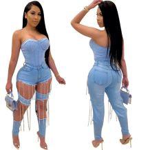 0070321 Best seller Summer fashion metal chain holes Women denim pants Female Bottoms Ladies Trousers ripped Jeans