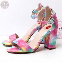 0270472 Summer Women's shoes European and American fashion colorful thick high heel sandals