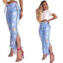 0070322 Newest design Summer fashion holes bandage pockets slit Women denim pants Female Bottoms Ladies Trousers ripped Jeans