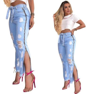 0070322 Newest design Summer fashion holes bandage pockets slit Women denim pants Female Bottoms Ladies Trousers ripped Jeans