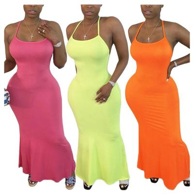 0070302 Best seller solid color spaghetti strap Mermaid Lady Elegant Sexy Party Summer Women Girls' Casual long Dress
