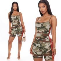 0070305 Wholesale fashion casual camouflage print sports suit Sexy 2 Pcs Track Suit Outfits Two Piece Shorts Set Women Clothing
