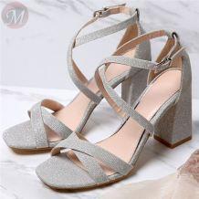 0270474 Wholesale latest popular fashion cross all-match heel ladies summer women high heels