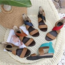 0270471 2020 summer fashion casual ethnic style ladies shoes Bohemian Women's Wedges Heel Sandals