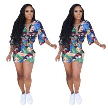 0070318 New arrival fashion long sleeve floral print sports suit Sexy 2 Pcs Track Suit Outfits Two Piece Set Women Clothing